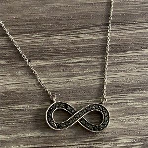 Sterling Silver & Black Diamond Infinity Necklace